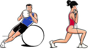Illustration of lady and man exercising